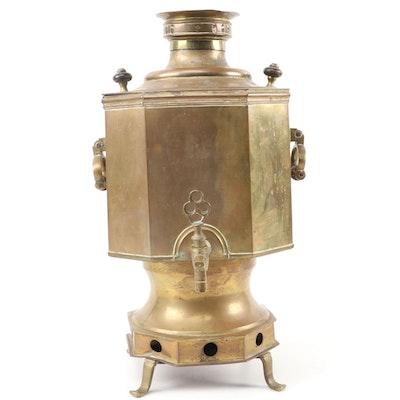 Indo-Persian Octagonal Form Brass Samovar, 19th Century