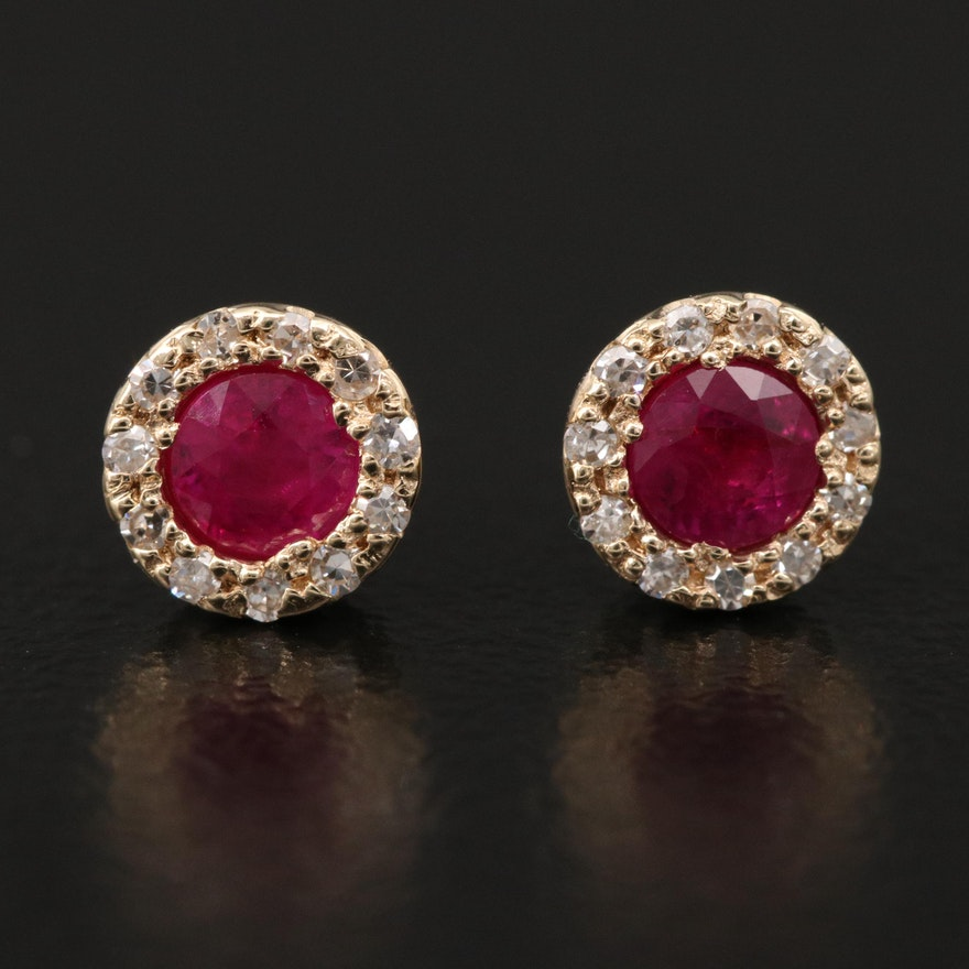 EFFY 14K Ruby and Diamond Halo Stud Earrings