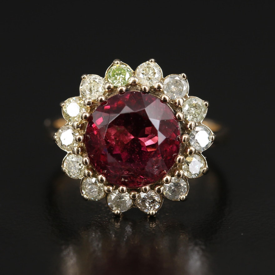 14K 4.57 CT Rubellite Tourmaline and Diamond Ring