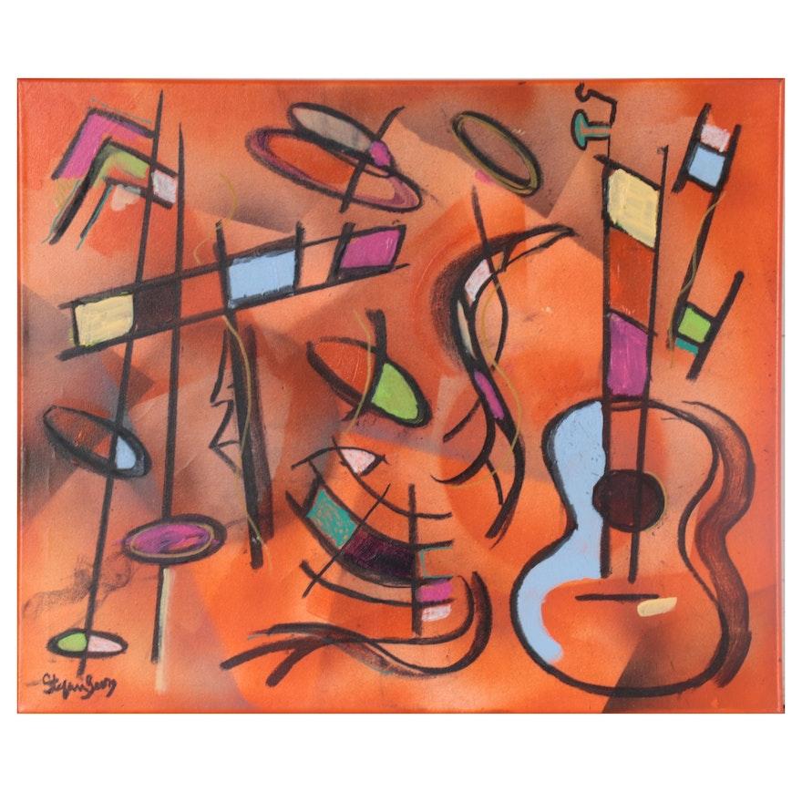 "Stefan Georg Mixed Media Painting ""Latino Musica,"" 2021"
