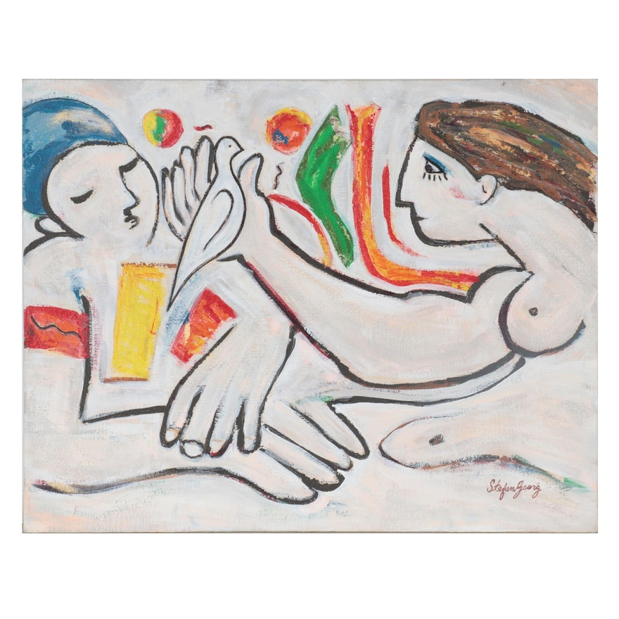 """Stefan Georg Mixed Media Painting """"Love & Peace,"""" 1988"""