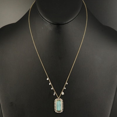 Meira T. 14K Quartz, Aquamarine Doublet and Diamond Necklace