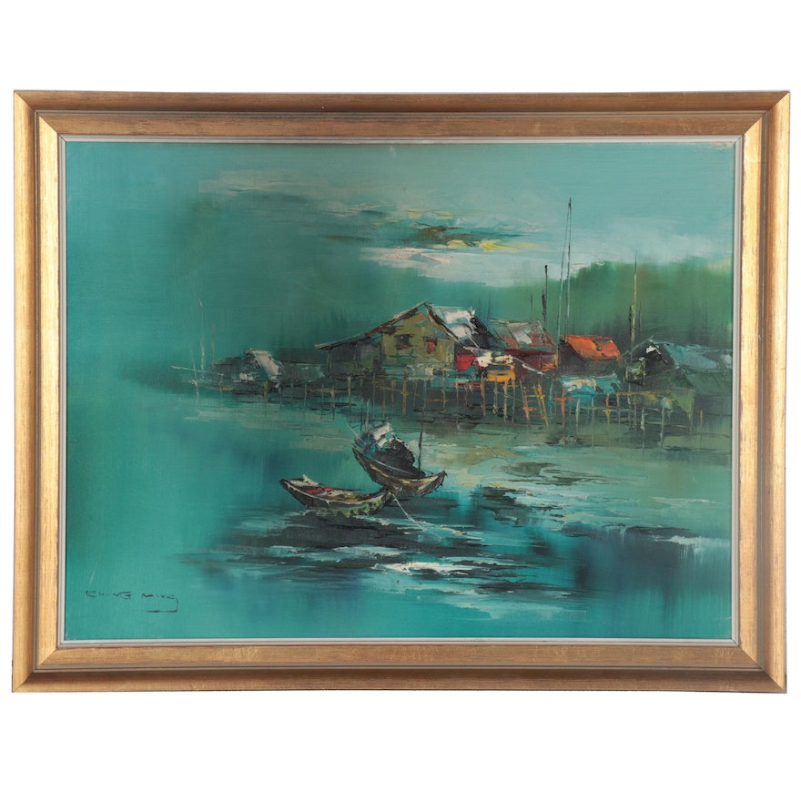 Chung Ming Abstract Oil Painting of Fishing Village, Late 20th Century