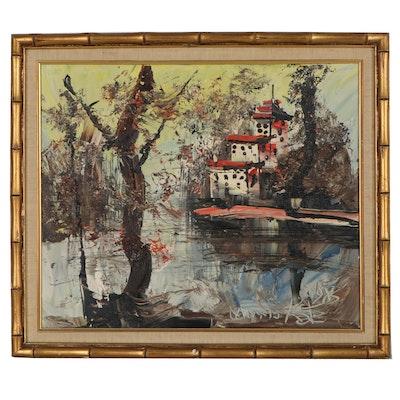 Morris Katz Impasto Landscape Oil Painting, 1983