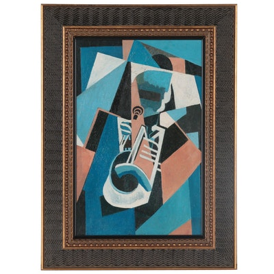 John Ruggles Cubist Style Oil Painting of Musician, Late 20th Century