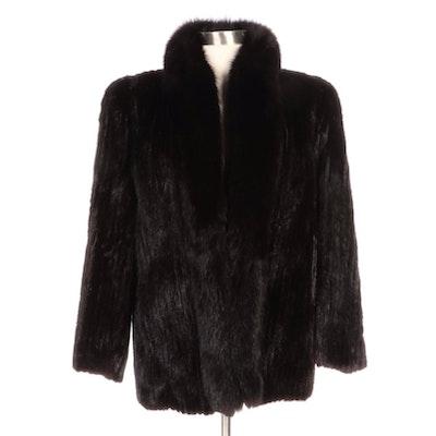 Kotsovos Corded Mink Fur Coat with Fox Fur Collar
