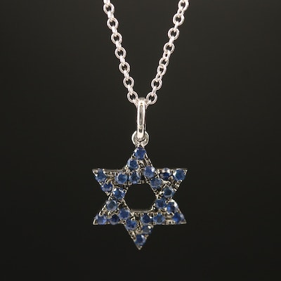 EFFY 14K Sapphire Star of David Pendant Necklace