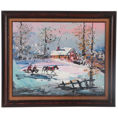 Morris Katz Winter Landscape Oil Painting with Traveling Chaise, 1991