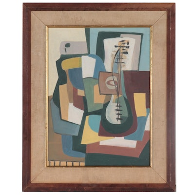 Cubist Style Oil Painting Attributed to John Ruggles of Musician