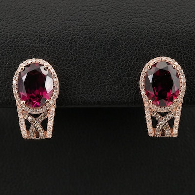 EFFY 14K Rhodolite Garnet and Diamond J Hoop Earrings