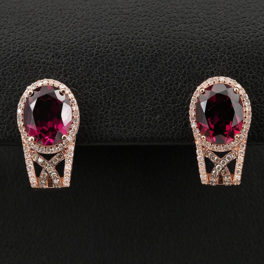 EFFY 14K Rhodolite Garnet and Diamond J Hoop Earrings