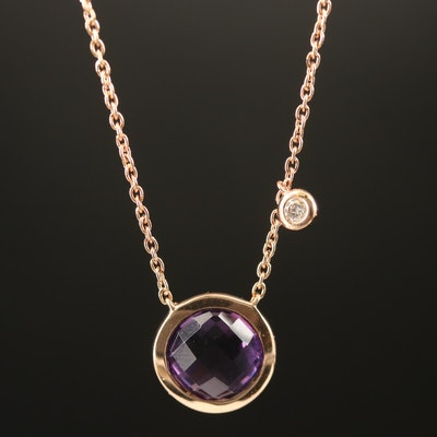 EFFY 14K Bezel Set Amethyst and Diamond Necklace