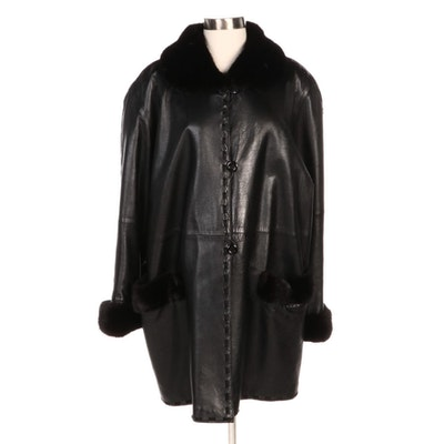Black Leather Button-Front Coat with Mink and Woven Suede Trim