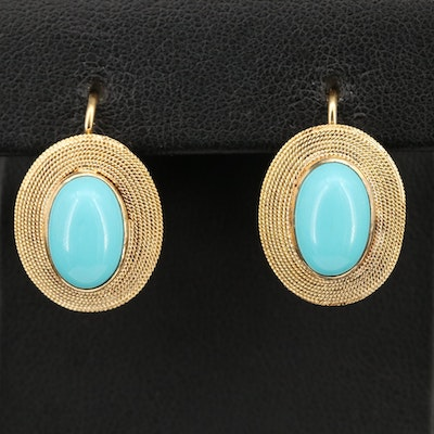 Italian 18K Bezel Set Turquoise Earrings with Wrapped Cable Frames