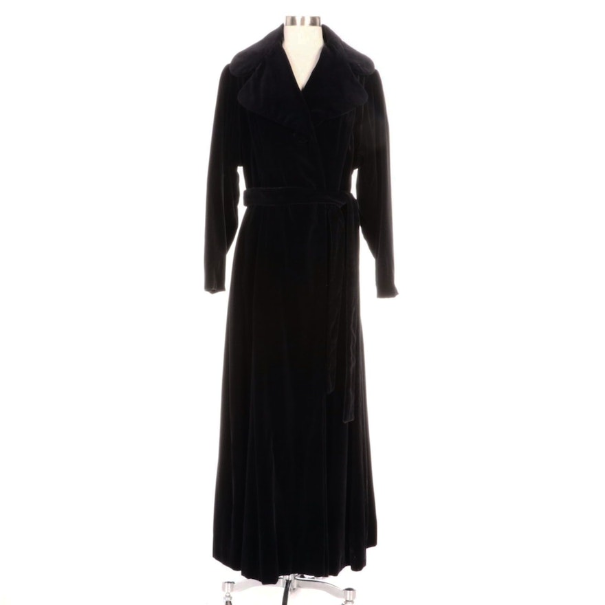 Black Velvet Full-Length Belted Wrap Coat with Wide Notched Collar