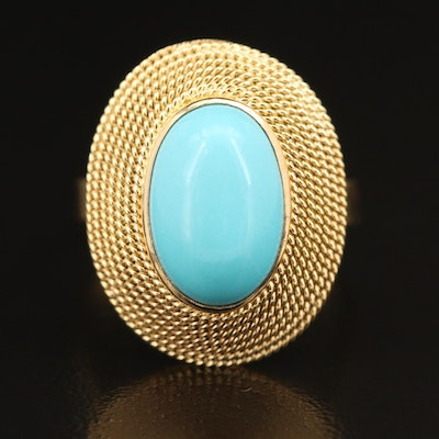 18K Italian Bezel Set Turquoise Ring with Wrapped Cable Frame