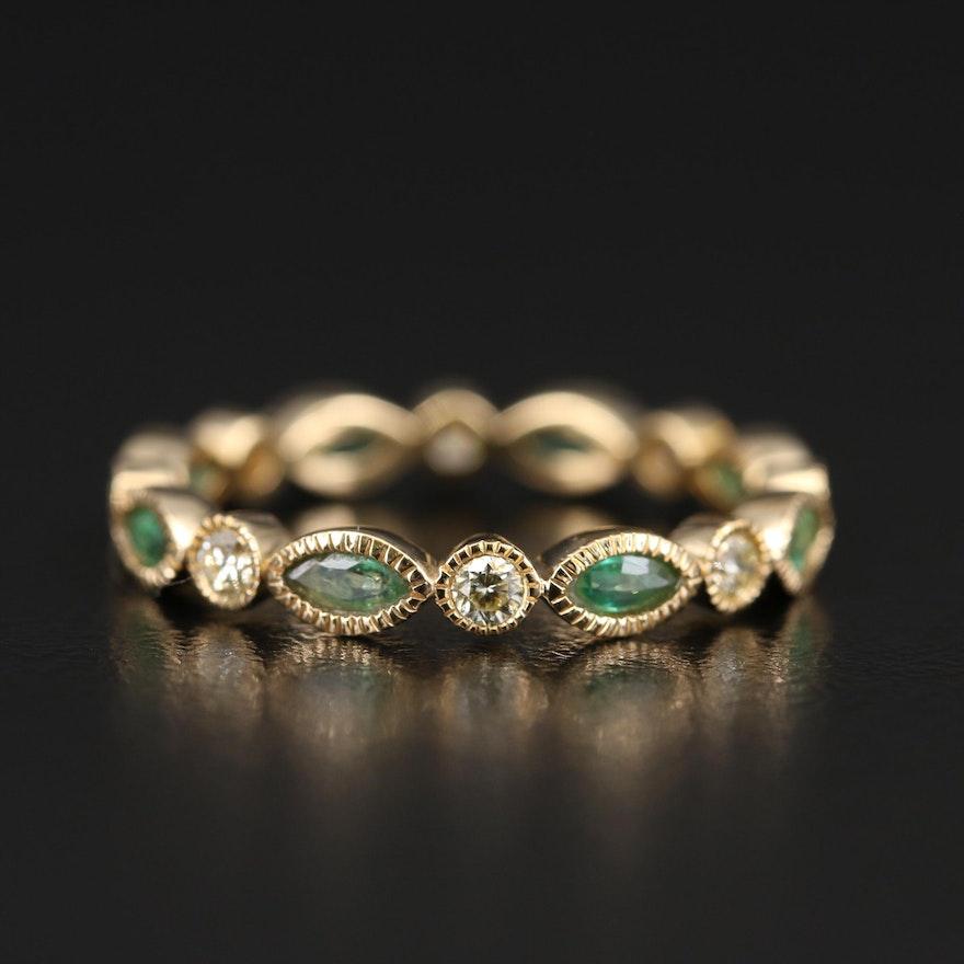 18K Diamond and Emerald Eternity Band