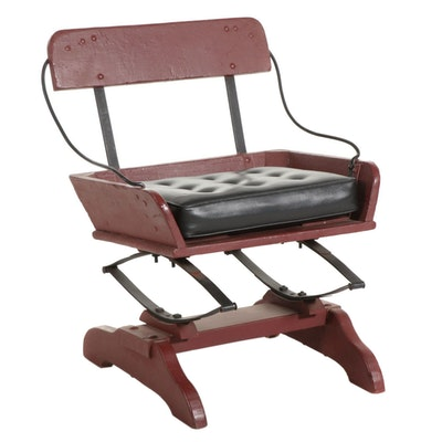 Spring-Supported Wagon Seat Chair, 20th Century