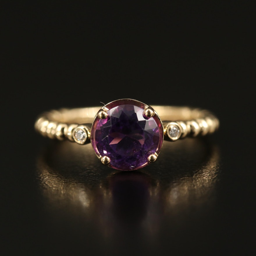EFFY 14K Amethyst and Diamond Ring with Bead Shoulders