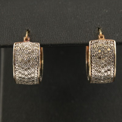 Sterling Diamond Hoop Earrings
