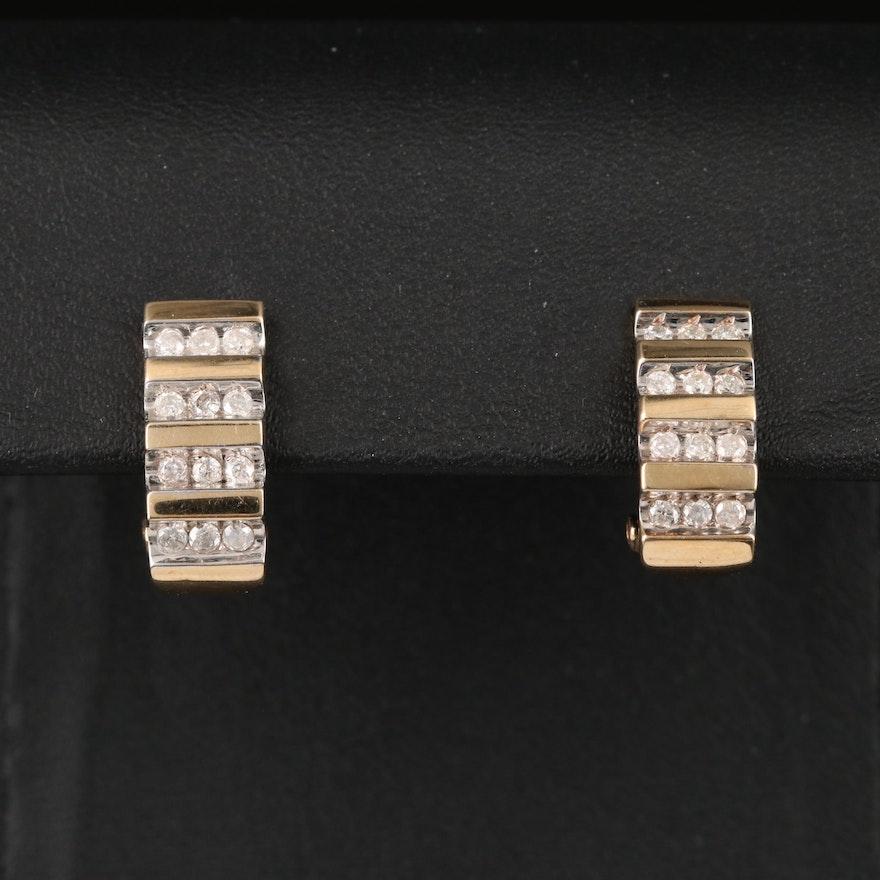 14K Diamond J Hoop Earrings
