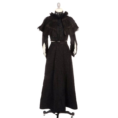 Victorian Mourning Ensemble Consisting of Bodice, Skirt and Capelet