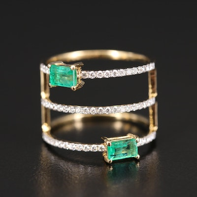 18K Emerald and Diamond Multi-Row Ring