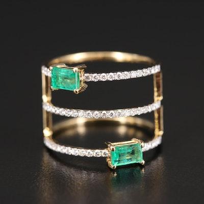 18K Emerald and Diamond Multi-Row Ring