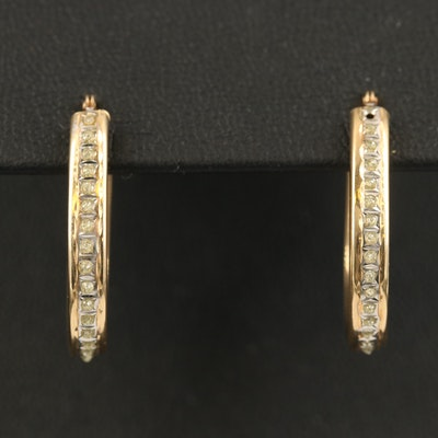 14K Hoop Earrings with Glitter Accents