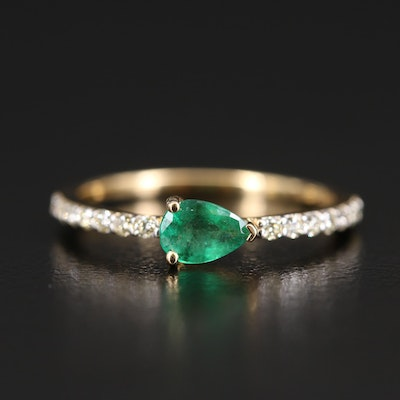 18K Emerald and Diamond East-West Ring