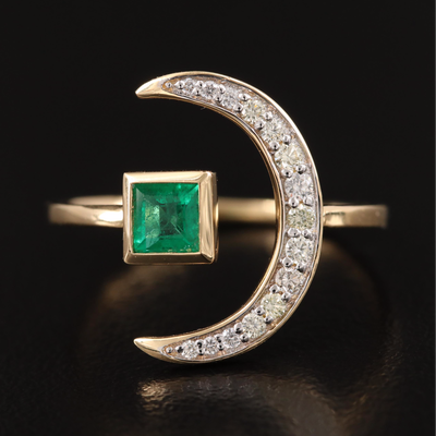 18K Emerald and Diamond Crescent Moon Ring with Open Shank
