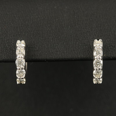 EFFY 14K Diamond Hoop Earrings with Trellis Setting