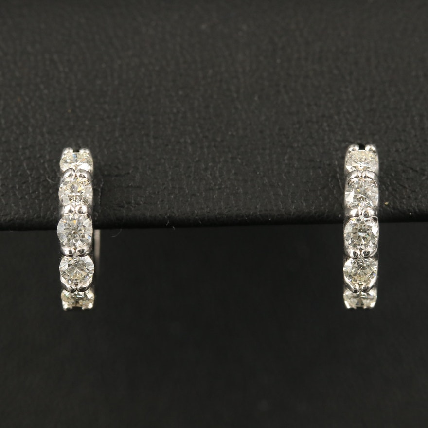 EFFY 14K Diamond Hoop Earrings with Trellis Setting