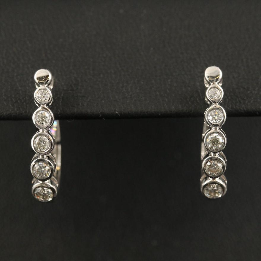 EFFY 14K Diamond Hoop Earrings with Graduated Bezels