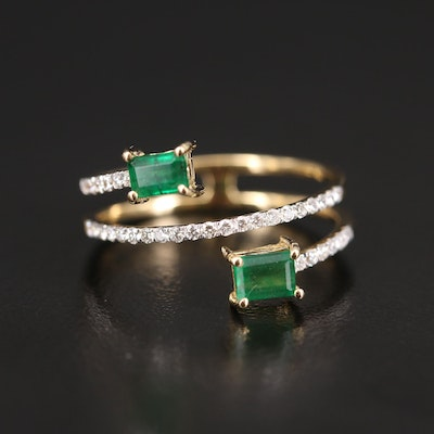 18K Emerald and Diamond Spiral Ring