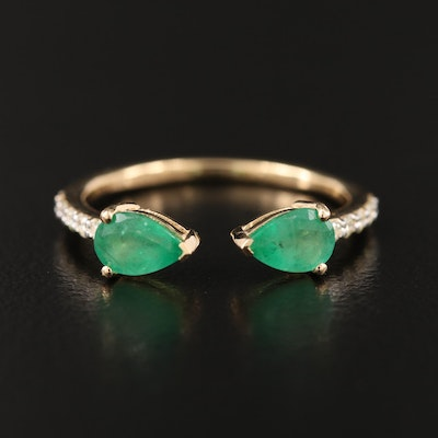 18K Emerald and Diamond Open Shank Ring