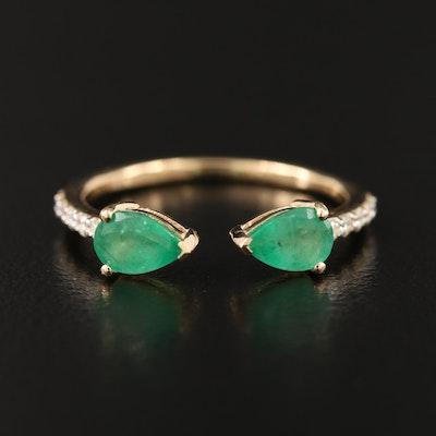 18K Emerald and Diamond Open Shank Ring