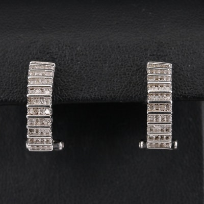 Sterling Diamond Half Hoop Earrings