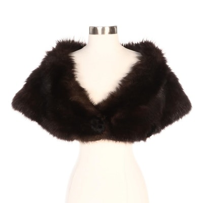 Fox Stole with Sheared Beaver Fur Covered Button Closures