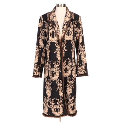 Tracy Reese Floral Print Wool Duster with Rabbit Fur Trim