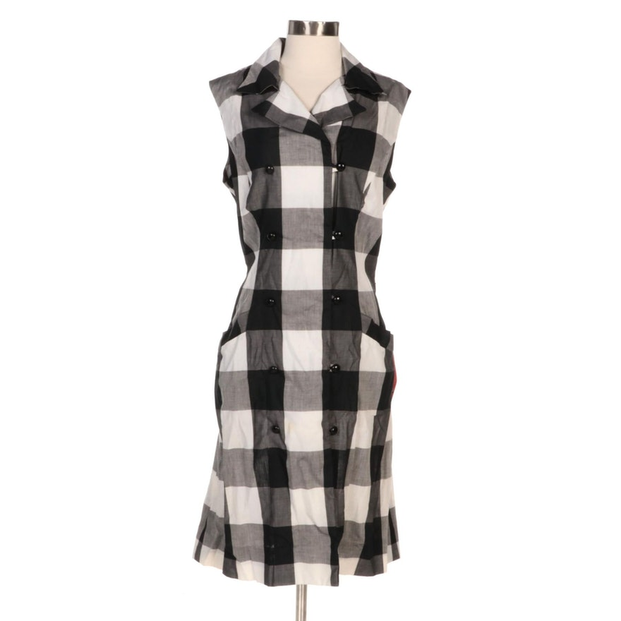 Serbin by Muriel Ryan Double-Breasted Check Dress