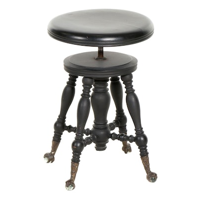 Victorian Painted Wood Piano Stool, Early 20th Century