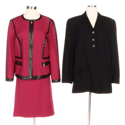 Carlisle Berry-Colored Skirt Suit and Barneys New York Black Jacket