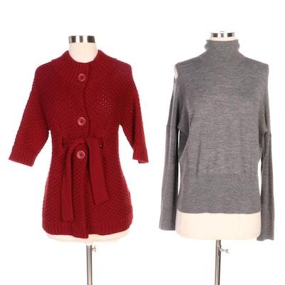 Vince Cold Shoulder Turtleneck and Belted Cardigan Sweater