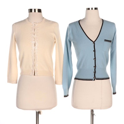 Vince and Matilde Cashmere Cardigans with Three-Quarter Length Sleeves