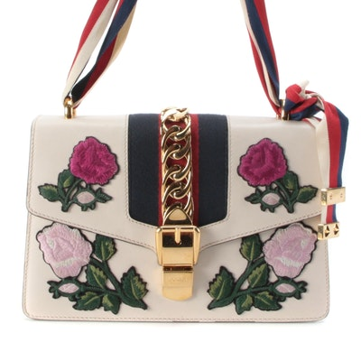 Gucci Embroidered Small Sylvie Shoulder Bag in White Leather