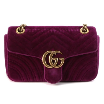 Gucci Small GG Marmont 2.0 Bag in Rubin Purple Velvet