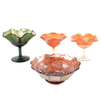 Fenton Carnival Glass Marigold Grape and Leaf Ruffle Bowl with Compotes