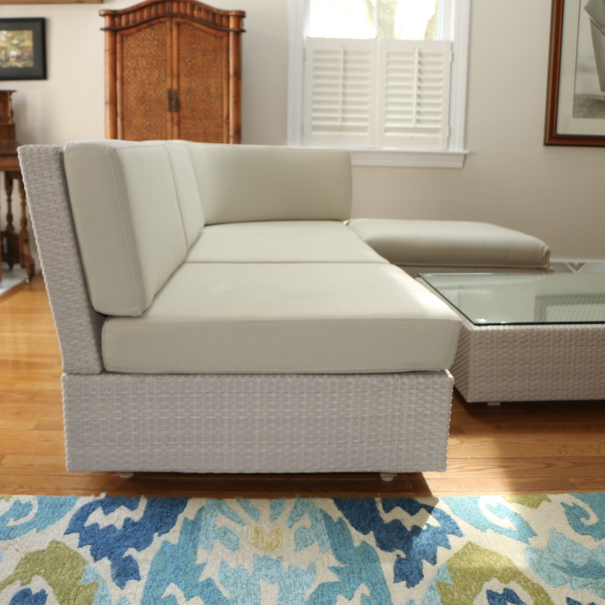 Emu Wicker Patio Sectional and Coffee Table with Sunbrella Cushions
