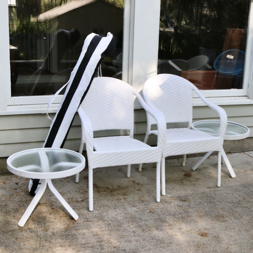 Frontgate Wicker Patio Chairs, Glass Top Side Tables and Outdoor Umbrella